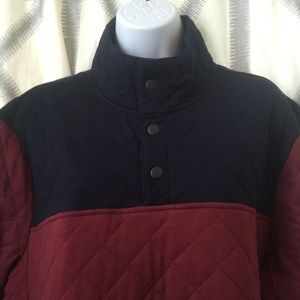 Colorblock Quilted Mock Neck Pull Over